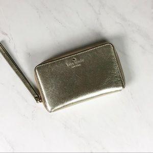 Kate Spade Zip Wallet/Wristlet Gold NWOT